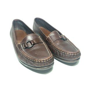 SAS Womens Loafer Shoes Brown Metal Ring Low Top